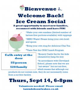 Bienvenue & Welcome Back Ice Cream Social